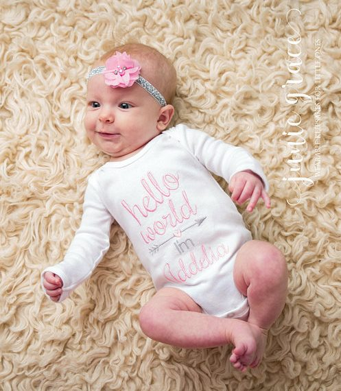 Hello World Personalized Pink and Gray Onesie and Headband Outfit Set