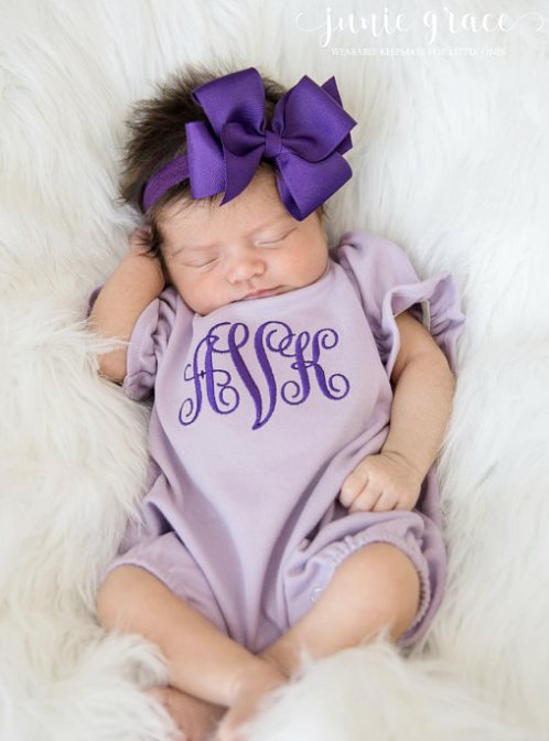 Baby Girls Purple and Lavender Personalized Romper and Matching Headband Outfit Set