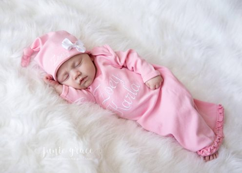 Newborn Girl Pink and White Coming Home Gown Outfit with Matching Hat
