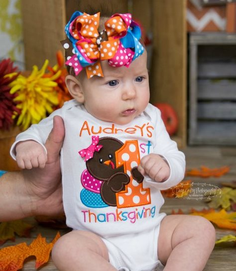 Personalized Baby's First Thanksgiving Onesie Outfit with Matching Bow Headband