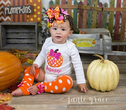 Baby Girls Personalized Pumpkin Onesie Outfit with Matching Bow Headband and Leg Warmers
