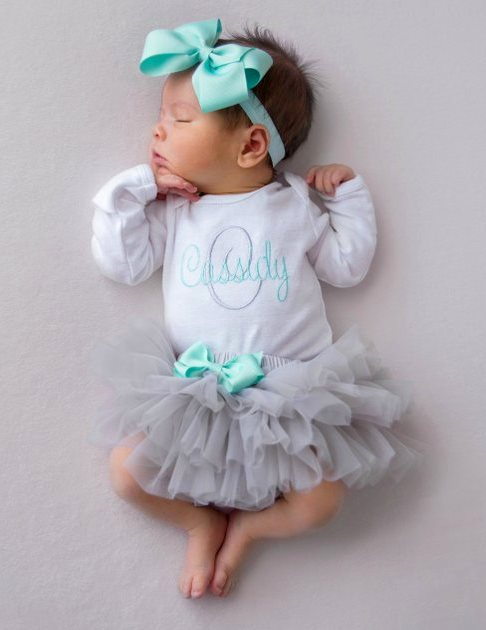 Personalized Aqua and Gray 3pc. Onesie Tutu Diaper Cover and Headband Outfit Set