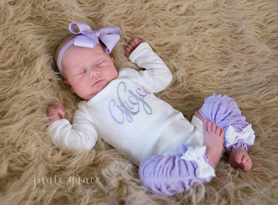 Personalized 4pc. Lavender and Gray Onesie Leg Warmers and Headband Outfit Set