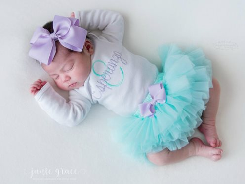 Personalized Aqua and Lavender 3pc. Onesie Tutu Diaper Cover and Headband Outfit Set
