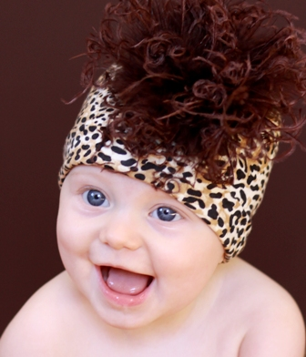 Brown Leopard Print Curly Ostrich Feather Hat