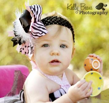 Pink Zebra Over the Top Hair Bow Headband