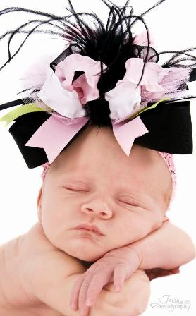 Girly Baby Light Pink and Black Large Hair Bow Headband