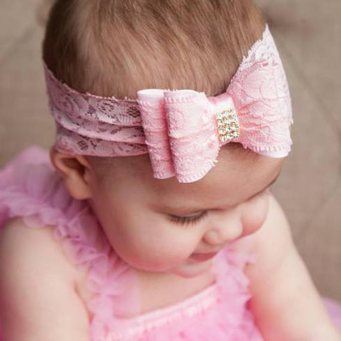 Beautiful Lace Double Bow Rhinestone Headband