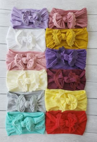 Lace Trim Nylon Messy Bow Headwrap Headband