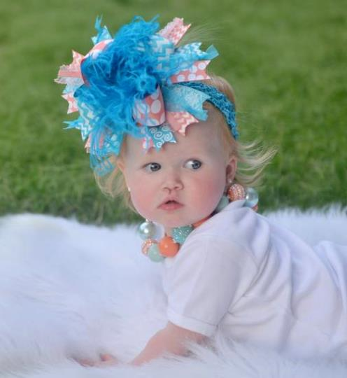 Turquoise and Coral Over the Top Hair Bow Headband