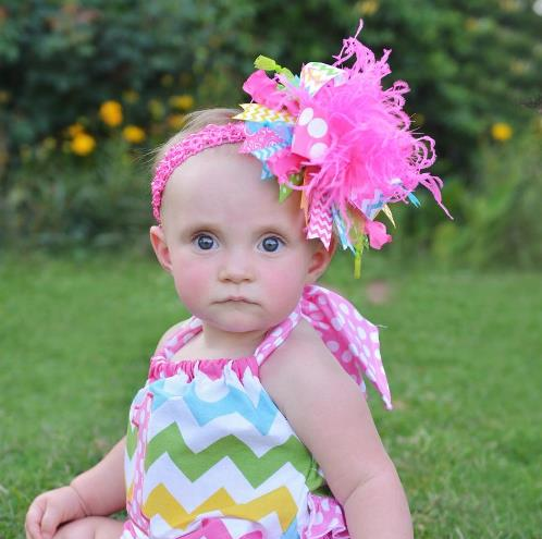 Hot Pink Rainbow Colorful Over the Top Hair Bow Headband