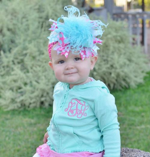 Hot Pink and Aqua Over the Top Hair Bow Headband
