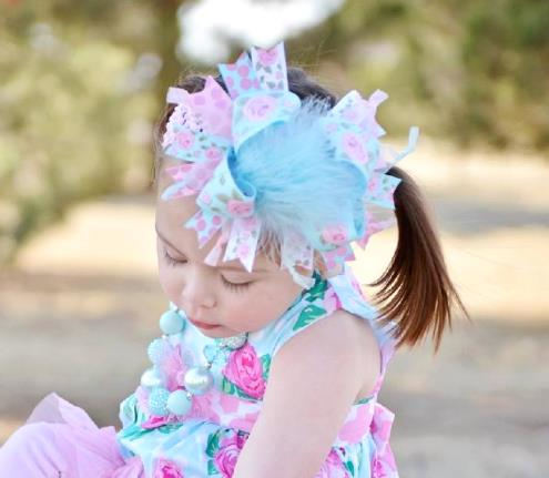 Sweet Rose Over the Top Hair Bow Headband