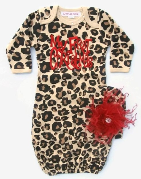 Leopard Baby Girls My First Christmas Newborn Layette Gown & Matching Hat Set