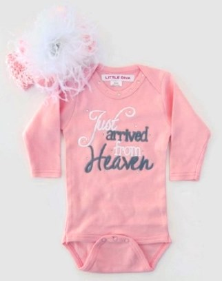 Newborn Baby Girls Just Arrived From Heaven Onesie and Matching Headband Outfit