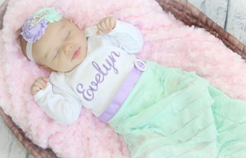 Personalized Lavender and Mint Newborn Girl Take Home Outfit Gown and Headband Set