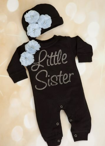 Black Floral Rhinestone Little Sister Bling Romper and Hat Outfit Set