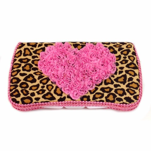 Cheetah Baby Wipes Case with Hot Pink Heart