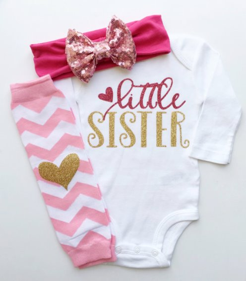 Pink and Gold Glitter Little Sister Onesie Outfit