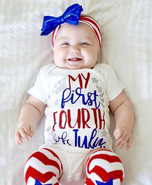 My First 4th of July Onesie with Matching Headband and Leg Warmers