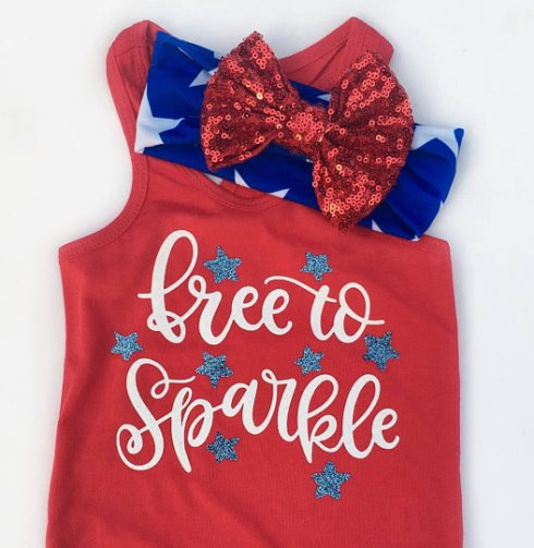 Free to Sparkle 4th of July Tank Top and Matching Headband