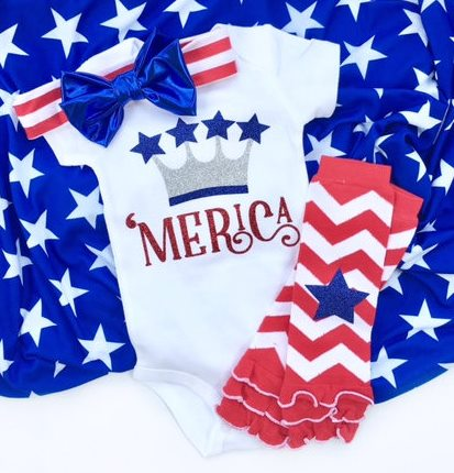 Baby Girls 4th of July Merica Onesie Outfit with Matching Headband and Leg Warmers
