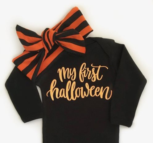 Baby Girls My First Halloween Onesie and Matching Headband Outfit