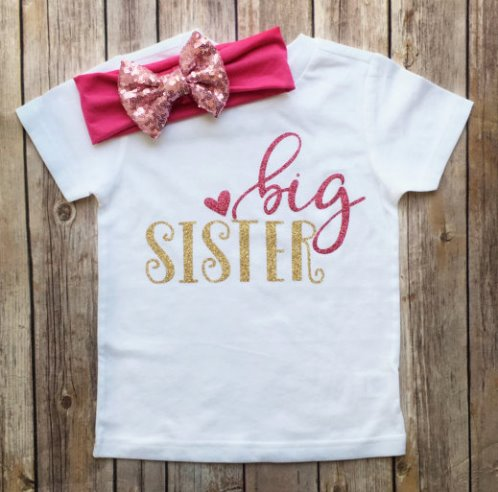 Pink and Gold Glitter Big Sister Shirt