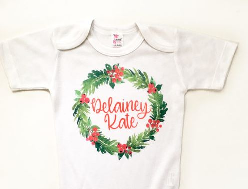 Personalized Christmas Holly Wreath Onesie Shirt