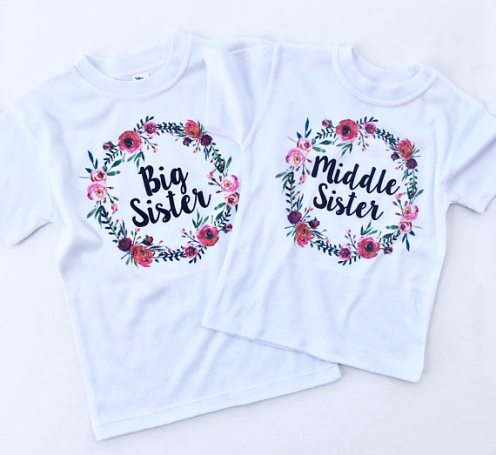 Floral Big Sister Middle Sister Shirt