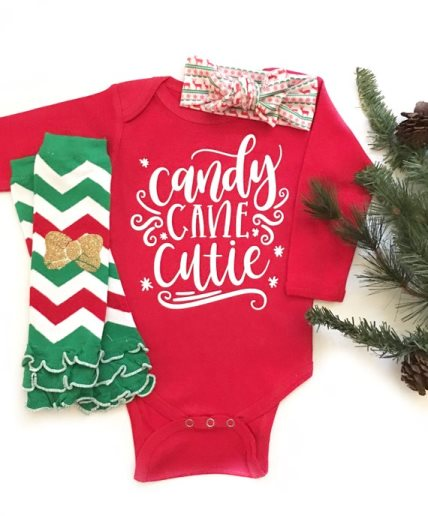 Candy Cane Cutie Christmas Onesie and Matching Headband and Leg Warmers Outfit