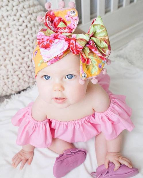 Summer Mila Rose Floral Pom Pom Headwrap