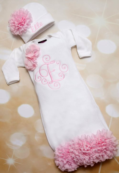 Pink and White Embroidered Newborn Flower Gown with Matching Hat Outfit Layette Set