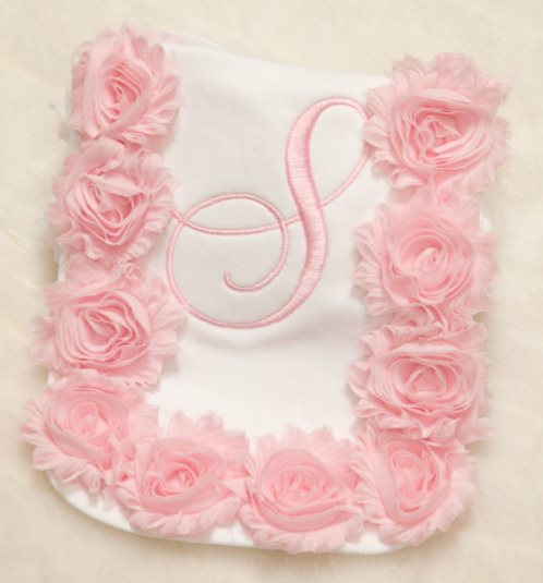 Pink Personalized Ruffle Flower Baby Burp Cloth