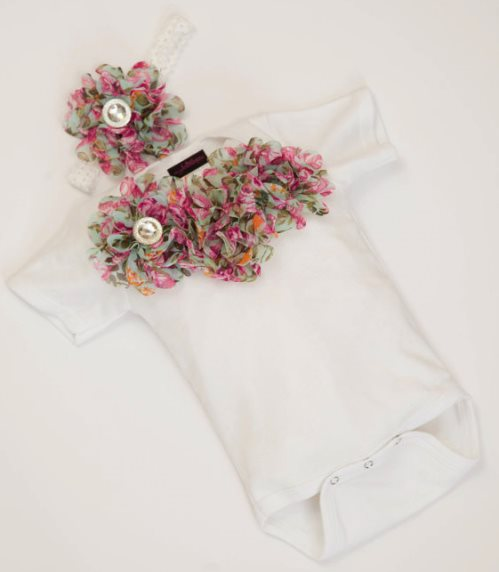 Baby Girls Vintage Floral Chiffon Flower Onesie and Headband Outfit Set