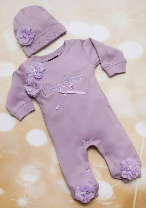 Lavender Baby Girl Romper Infant One Piece Set with Shabby Chiffon Flowers & Matching Hat