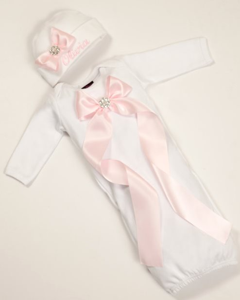 White Baby Girl Personalized Infant Gown with Pink Ribbon and Embroidered Matching Hat