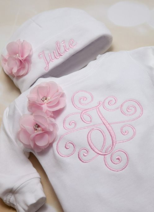 White and Pink Personalized Baby Girl Flower Romper Set & Matching Hat