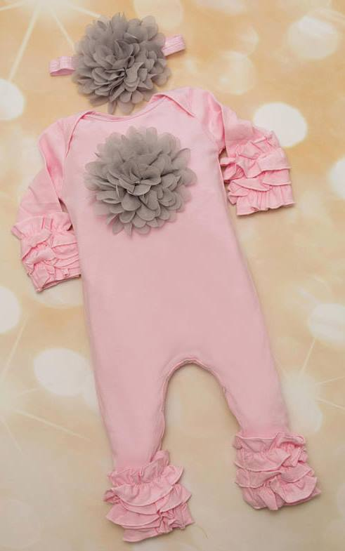 Pink and Gray Ruffle Romper with Matching Flower Headband Outfit Set