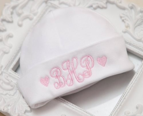 Newborn Baby Girl Monogrammed Hospital Hat