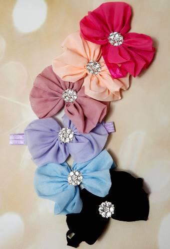 Messy Bow Rhinestone Center Dressy Chiffon Headwrap Headband