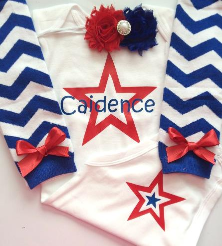 Personalized July 4th Star Bodysuit