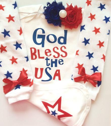 God Bless the USA Patriotic Bodysuit
