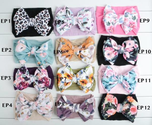 Choose Color - Printed Nylon Messy Bow Headwrap Headband