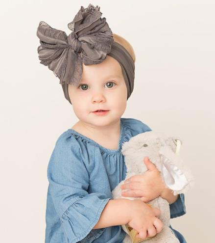 Choose Color - Oversized Ruffle Bow Nylon Headband