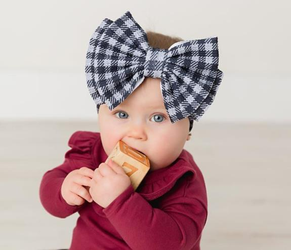 Big Oversized Black Plaid Bow Headwrap Headband