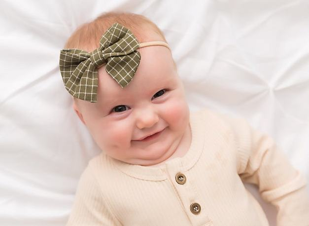 Choose Color - Cotton Printed Plaid Bow Skinny Nylon Headband