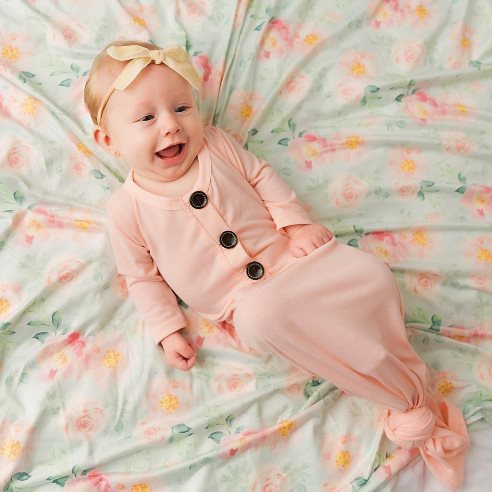 Blush Baby Pink Button Knotted Gown