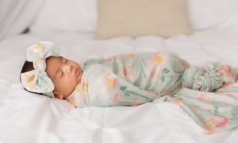Scarlet Floral Newborn Swaddle Blanket