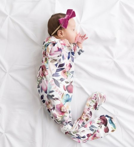 French Rose Floral Newborn Knotted Gown